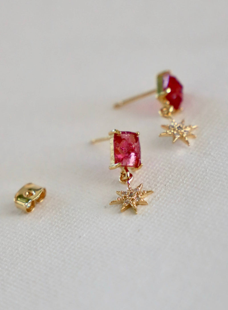 Glass Rectangle Stud With Gold Plate Cz Star Drop