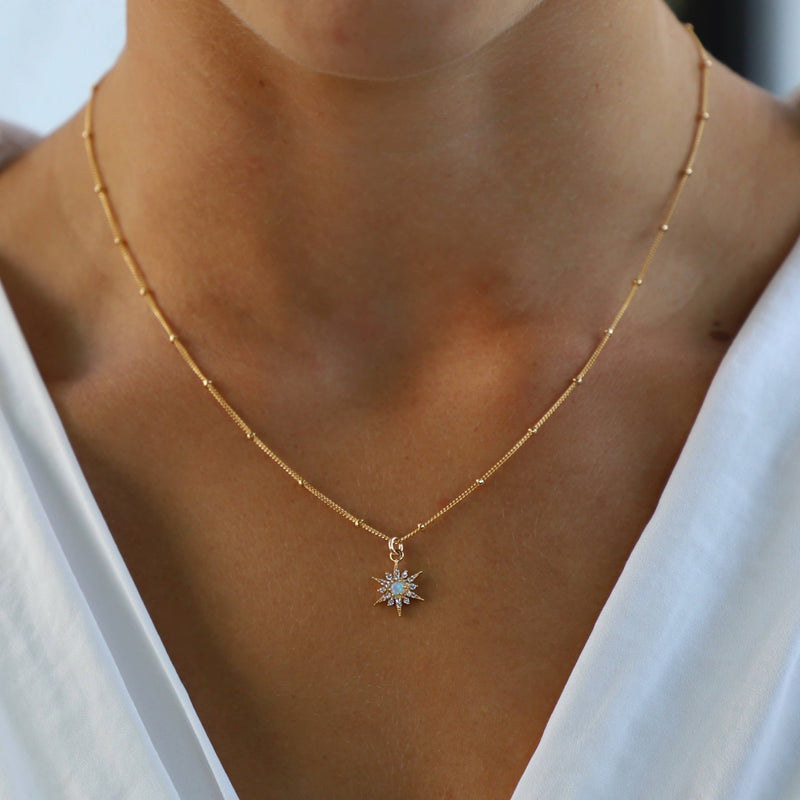 Petite Gold Plate Opal & Cz Star, Gold Filled Ball Chain