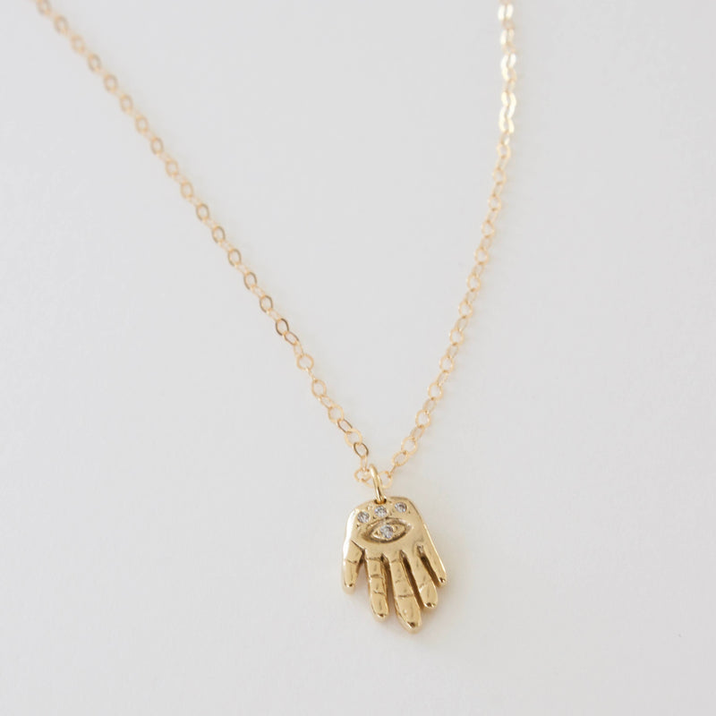 HAMMERED HAMSA HAND WITH CZ CHARM NECKLACE