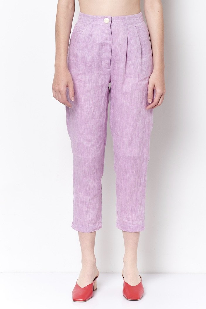 Sheila Pleat Tapered Pant - Orchid