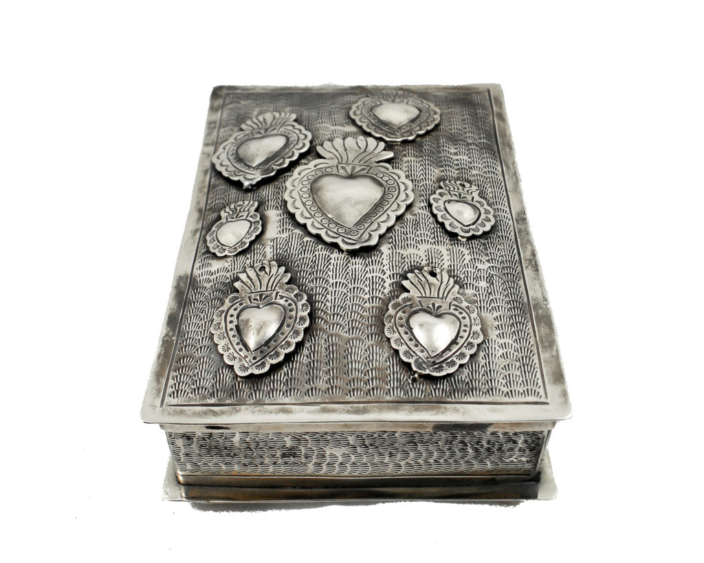 Stamped Silver Sacred Heart Milagro Keepsake Box
