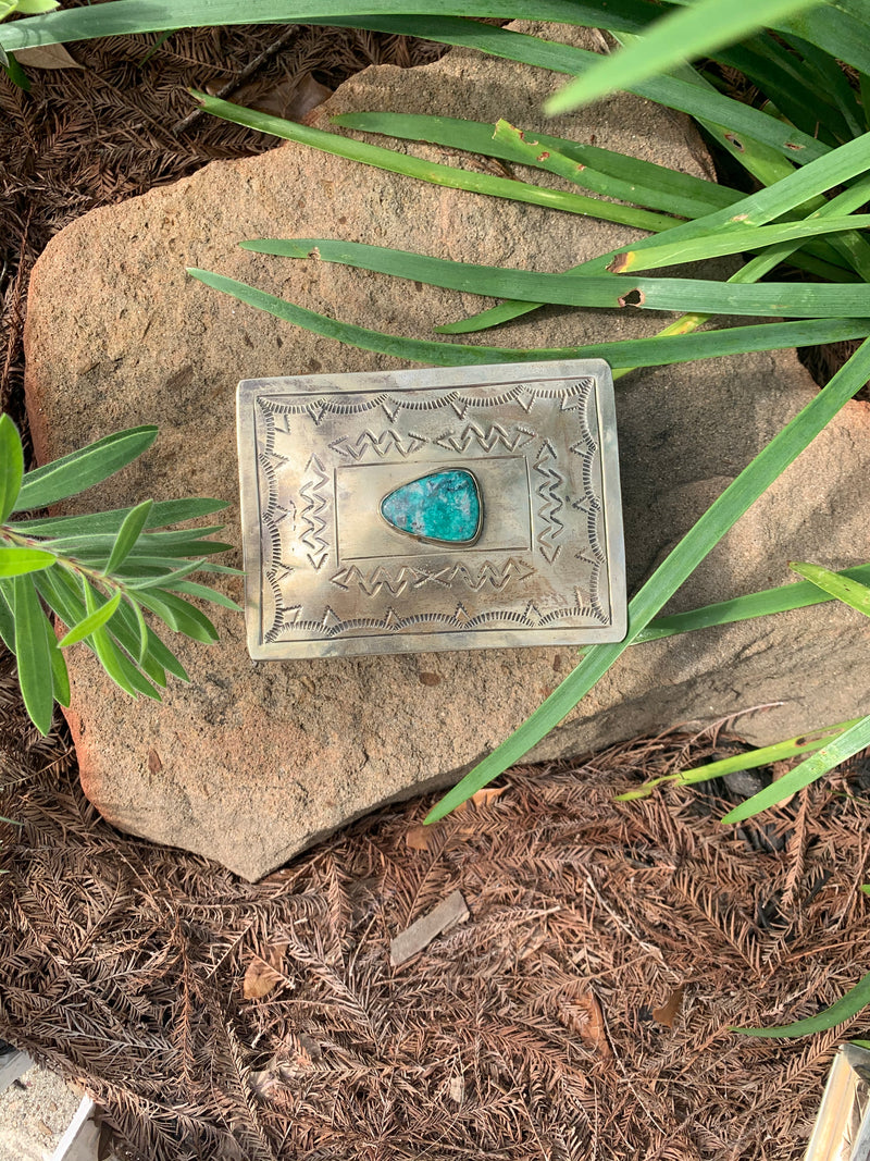 Small Stamped Box with Blue tear drop Turquoise