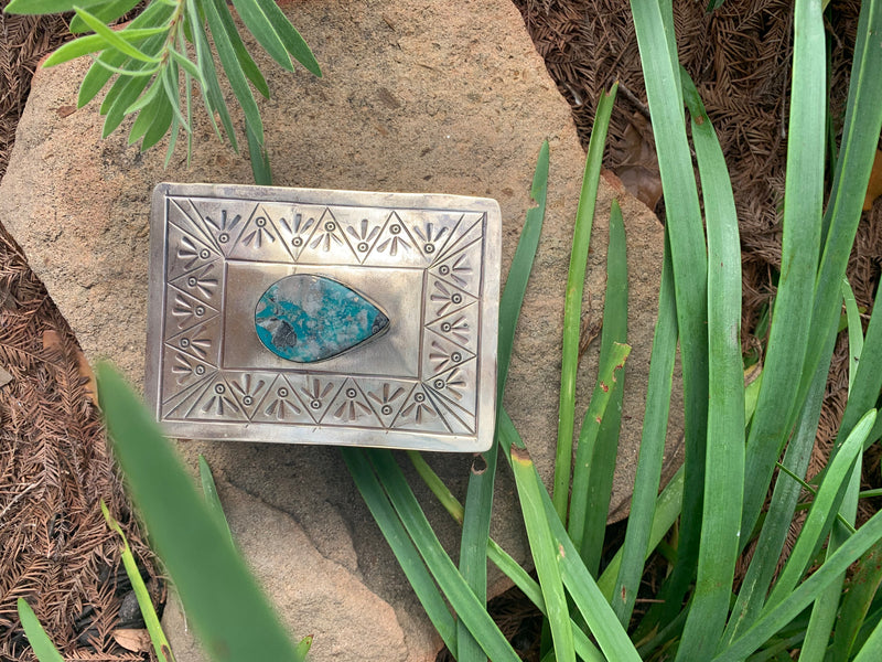 Small Stamped Box with green triangle turquoise
