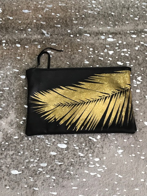 Black Bag with a Gold Palm Frond