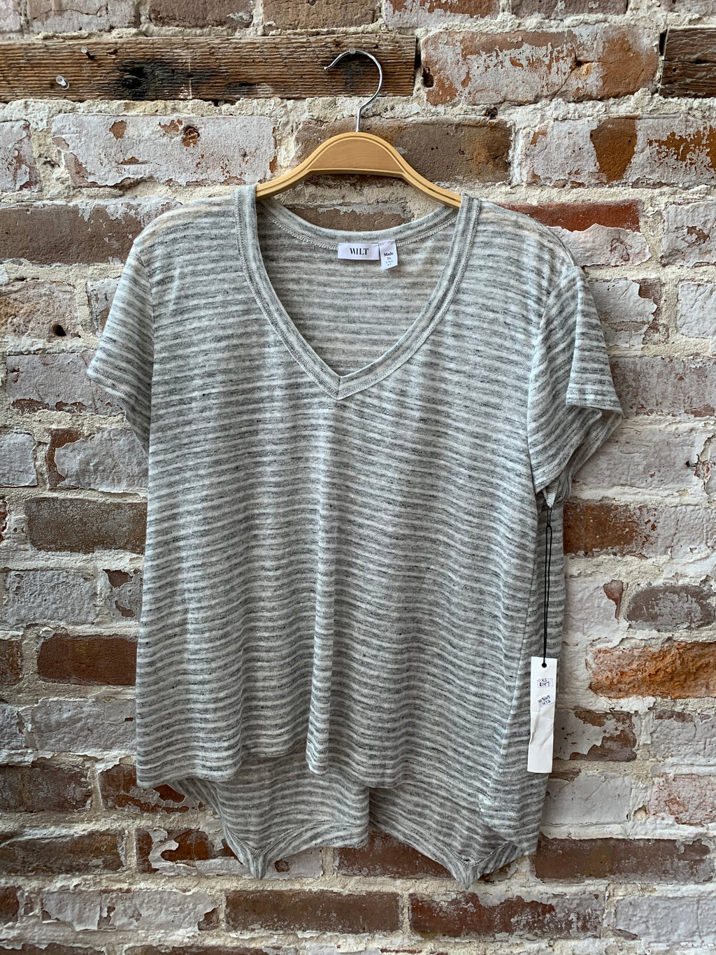 Grey Stripe Linen Sexy Deep V-Neck Shrunken Tee