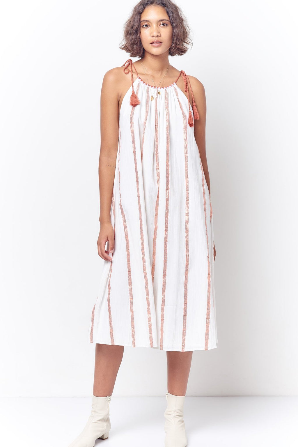 CINDY Peasant Style Sun Dress - Stripe