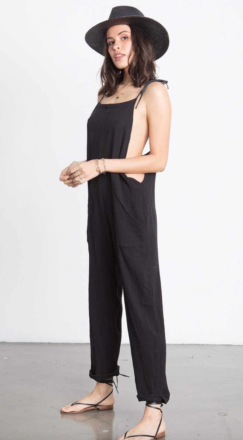 SOME BEACHY OVERALLS- Black