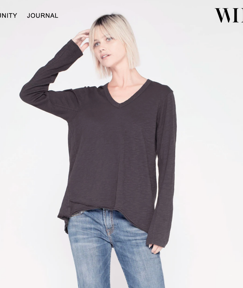 Long Sleeve Shrunken V-neck with Mock Hem