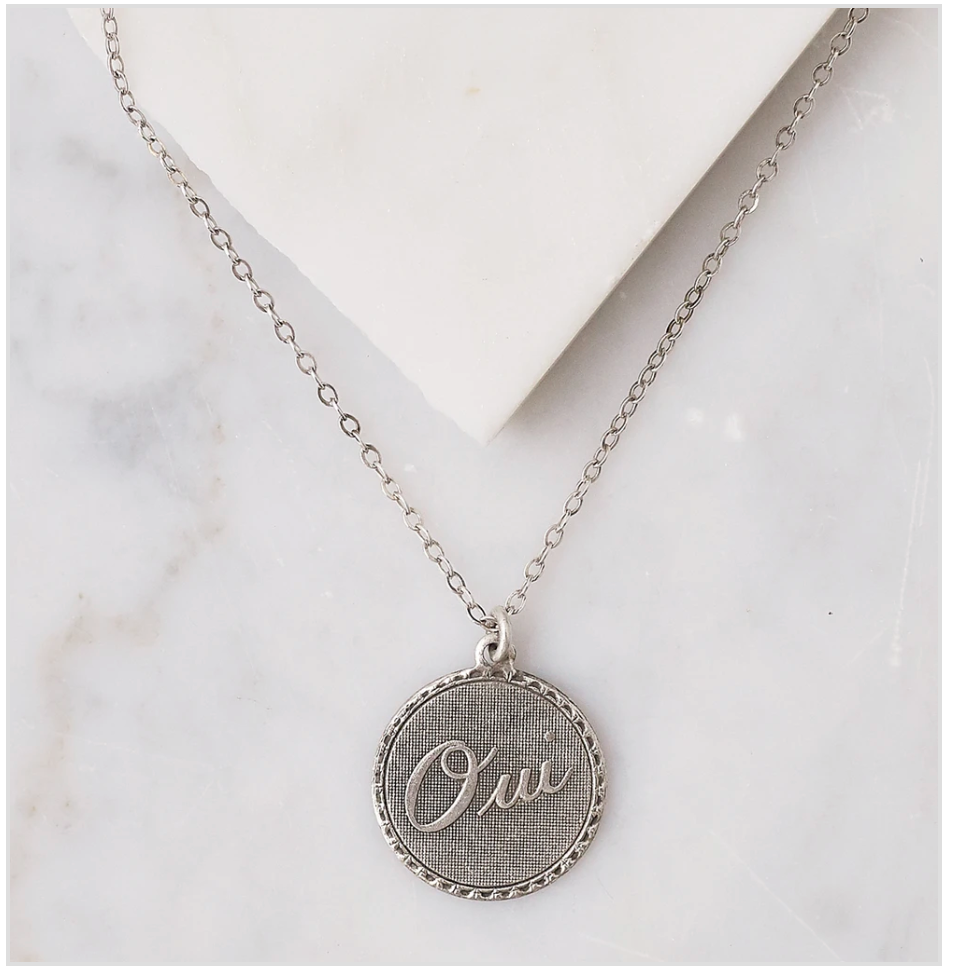 Oui Charm Necklace, Silver