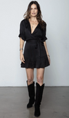THE LITTLE GODDESS MINI WRAP DRESS - BLACK