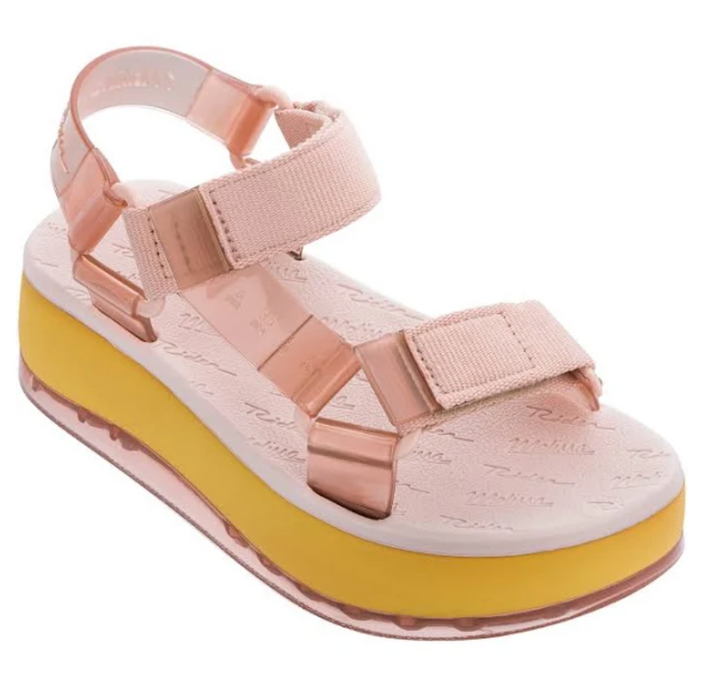 Melissa Papete Platform + Rider in Pink and Yellow