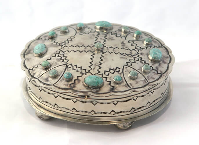 Stamped Oval Box with Turquoise