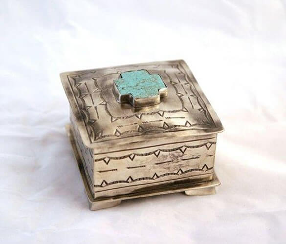 Small Stamped Box with Turquoise Cross