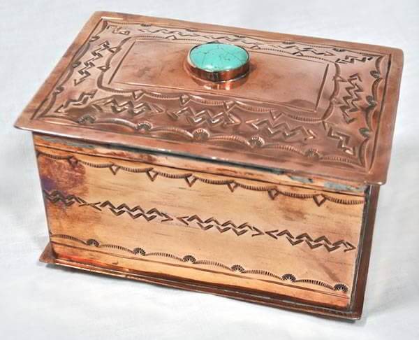 Stamped Medium Copper Box