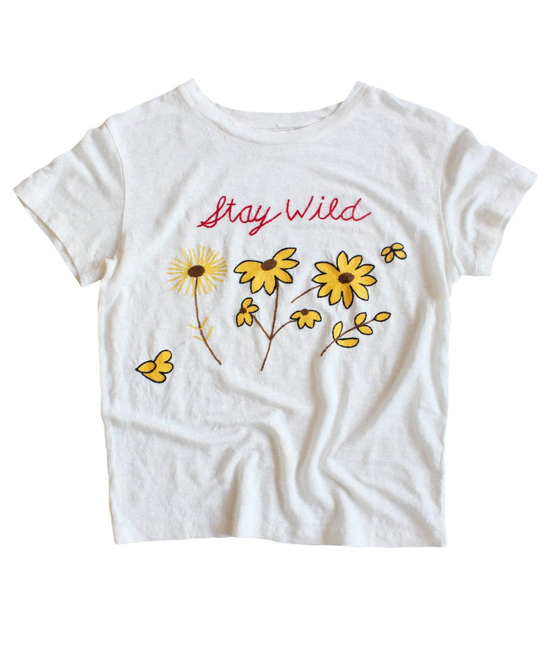 Embroidered Stay Wild Tee - Bone