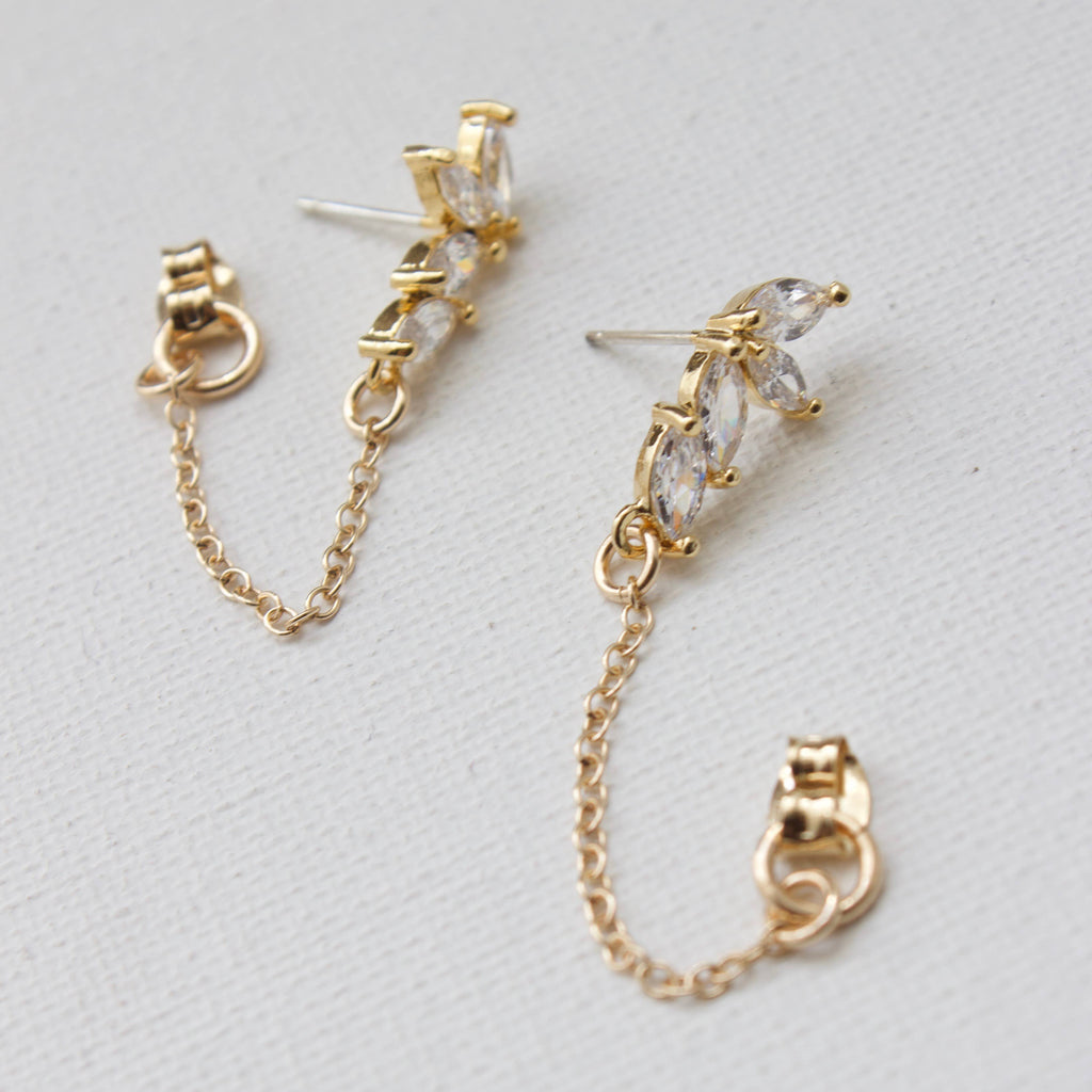Cubic Zirconia Marquise Stud Drop W/ Gold Filled Chain Loop