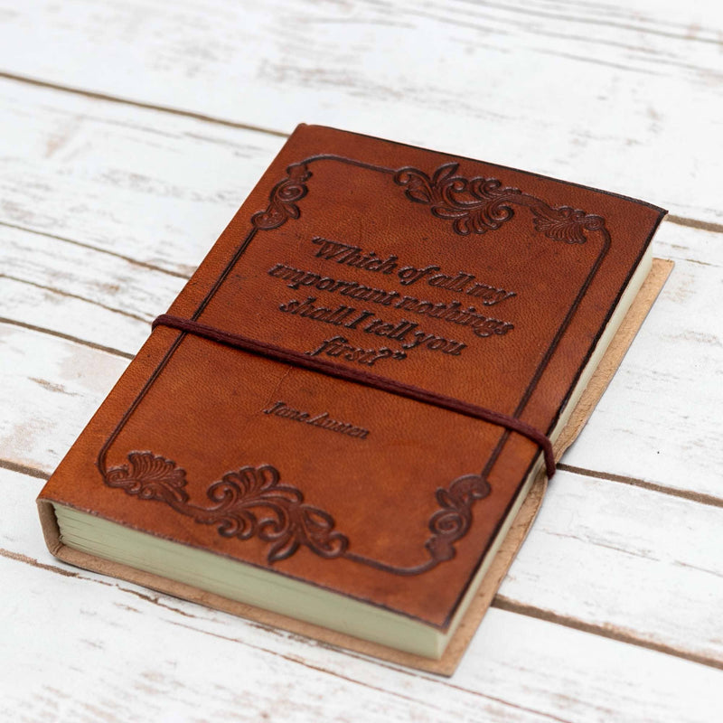 """Wonderful Nothings"" Jane Austen Handcrafted Leather Journal"