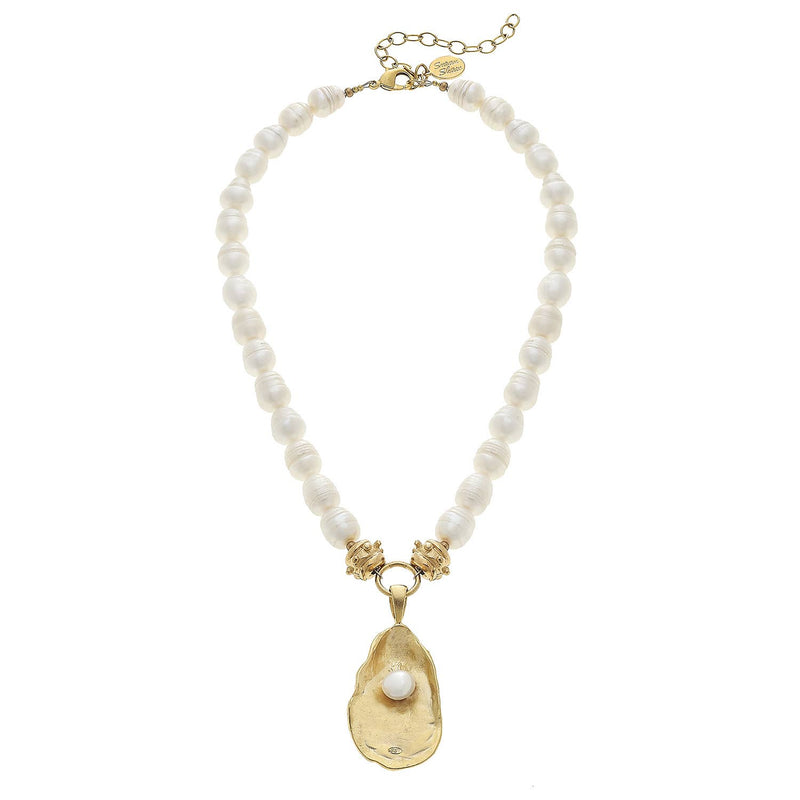 Handcast Gold Oyster with Handset Genuine Freshwater Pearl on Genuine Freshwater Pearl Necklace