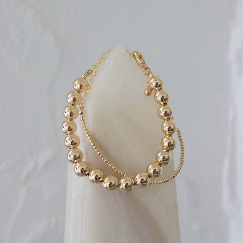 Chunky Gold Filled Round Bead Bracelet