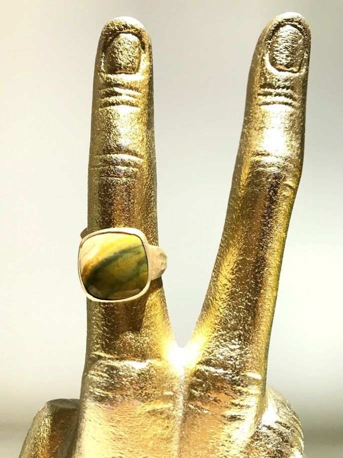 Gold Ring with Green Agate Stone