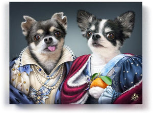 Pet Portraits on Canvas - THE ROYAL SISTERS - ROYAL MULTI-PET PORTRAITS - Royal Pet Pawtrait