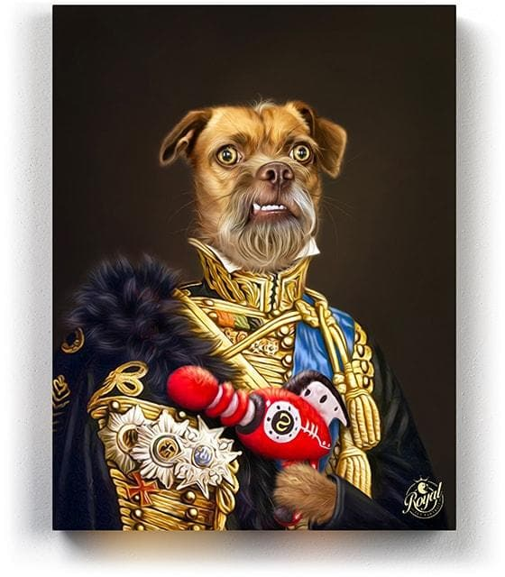 Pet Portraits on Canvas - THE WAR HERO - ROYAL PET PORTRAITS - Royal Pet Pawtrait