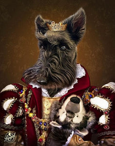 Pet Portraits on Canvas - THE QUEEN - ROYAL PET PORTRAITS - Royal Pet Pawtrait