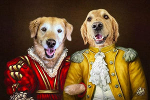 Pet Portraits on Canvas - THE ROYAL FAMILY - ROYAL MULTI-PET PORTRAITS - Royal Pet Pawtrait