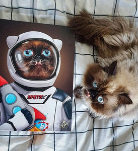 Pet Portraits on Canvas - THE SPACE PET - ROYAL PET PORTRAITS - Royal Pet Pawtrait