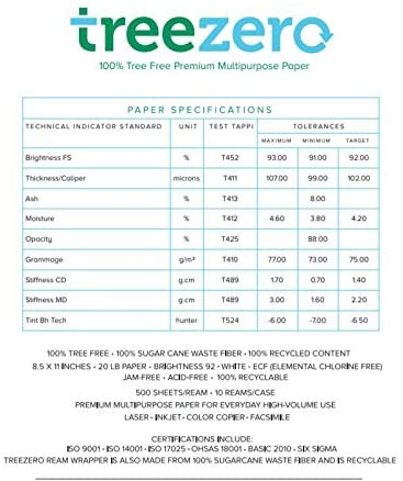 100% Tree Free Paper, 92 Bright, 8.5 X 11, White, 500 Sheets-ream, 10 Reams-carton