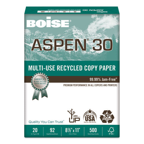 Aspen 30 Multi-use Recycled Paper, 92 Bright, 20lb, 8.5 X 11, White, 500 Sheets-ream, 10 Reams-carton