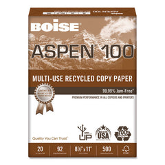 100% Recycled Paper, 92 Bright, 8.5 X 11, White, 500 Sheets-ream, 10 Reams-carton