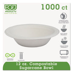 Renewable & Compostable Sugarcane Bowls - 12oz., 1000 count