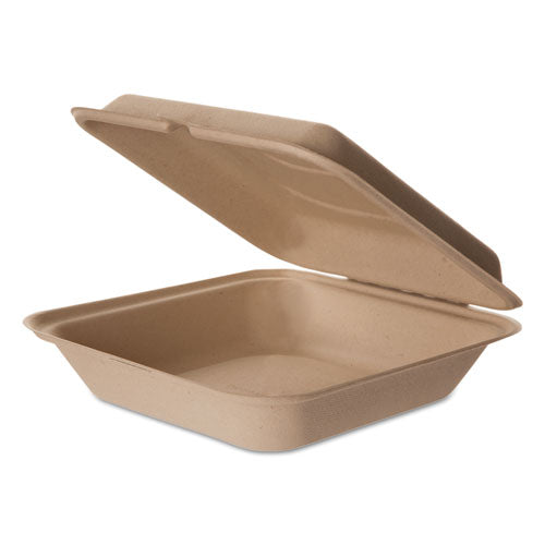 Wheat Straw Hinged Clamshell Containers, 9 X 9 X 3, 200 Count