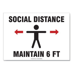 Social Distance Signs, Wall, 10 X 7, Customers And Employees Distancing Clean Environment, Humans-arrows, Green-white, 10-pk