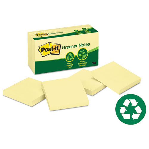 Recycled Note Pads, 3 X 3, Canary Yellow, 100-sheet, 12-pack