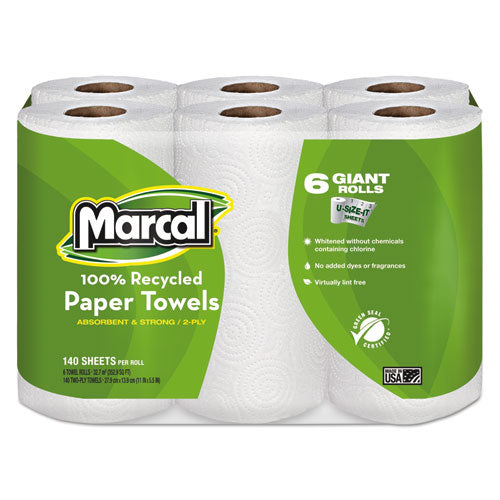100% Recycled Roll Towels, 2-ply, 5 1-2 X 11, 140-roll, 24 Rolls-carton