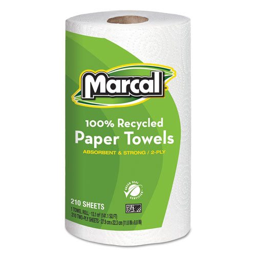 100% Recycled Roll Towels, 2-ply, 8.8 X 11, 210 Sheets, 12 Rolls-carton
