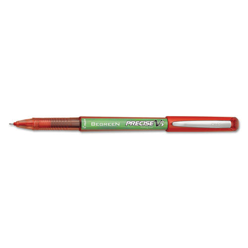 Precise V5 Begreen Stick Roller Ball Pen, 0.5mm, Red Ink-barrel, Dozen