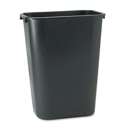 Deskside Recycled Plastic Wastebasket, Rectangular, 10.25 Gal, Black