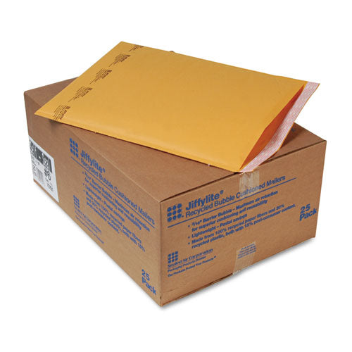 Jiffylite Self-seal Bubble Mailer, #6, Barrier Bubble Lining, Self-adhesive Closure, 12.5 X 19, Golden Brown Kraft, 25-carton
