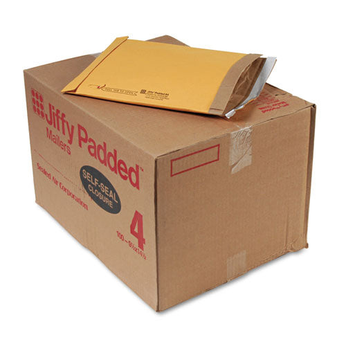 Jiffy Padded Mailer, #4, Paper Lining, Self-adhesive Closure, 9.5 X 14.5, Natural Kraft, 100-carton
