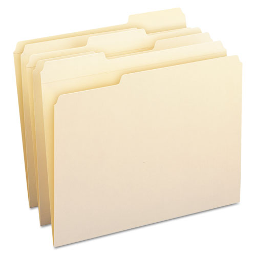 100% Recycled Reinforced Top Tab File Folders, 1-3-cut Tabs, Letter Size, Manila, 100-box