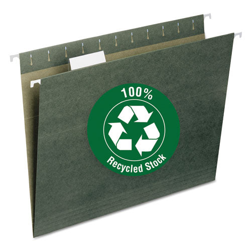 100% Recycled Hanging File Folders, Letter Size, 1-5-cut Tab, Standard Green, 25-box