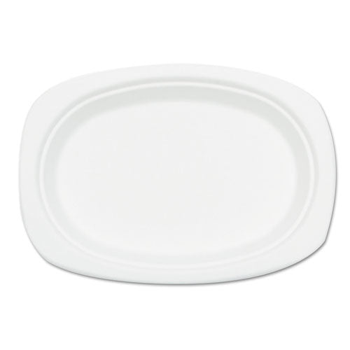 Compostable Sugarcane Bagasse Oval Plate, 9 X 6.5, White, 50-pack