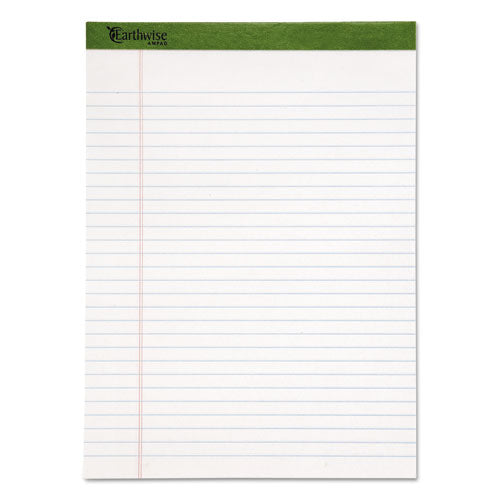 100% Recycled Earthwise Notepad, Wide-legal Rule, 8.5 X 11.75, White, 50 Sheets, 12 Count