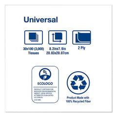 Universal Facial Tissue, 2-ply, White, 100 Sheets-box, 30 Boxes-carton