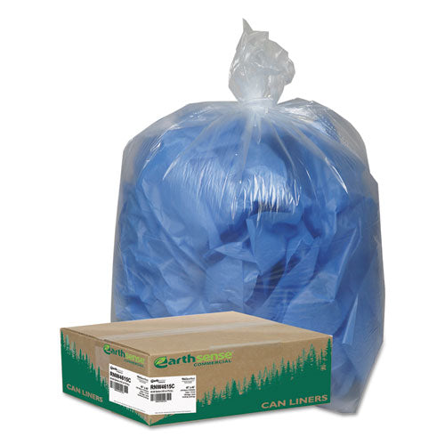 Linear Low Density Clear Recycled Can Liners, 45 Gal, 1.5 Mil, 40