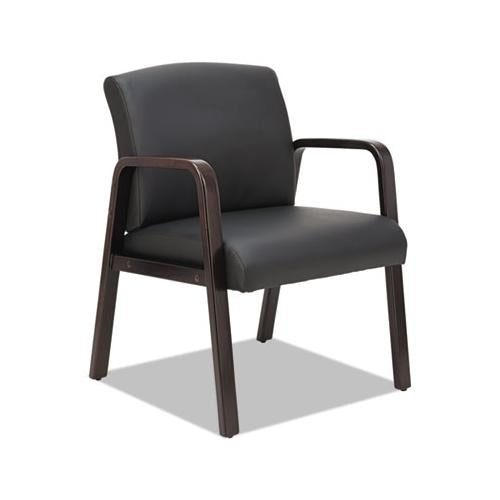 Alera Reception Lounge Wl Series Guest Chair, 23.81'' X 25.37'' X 32.67'', Black Seat-black Back, Espresso Base