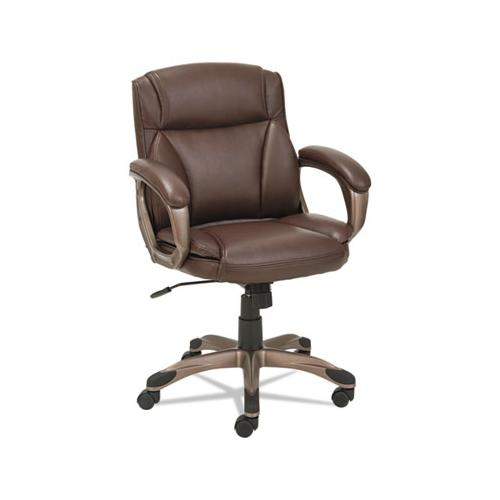 Alera Veon Series Low-back Leather Task Chair, Supports Up To 275 Lbs., Brown Seat-brown Back, Bronze Base